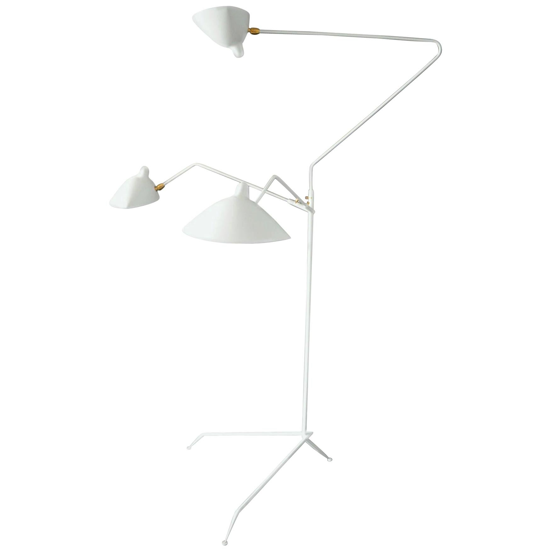 Serge Mouille Mid-Century Modern White Three Rotating Arms Floor Lamp