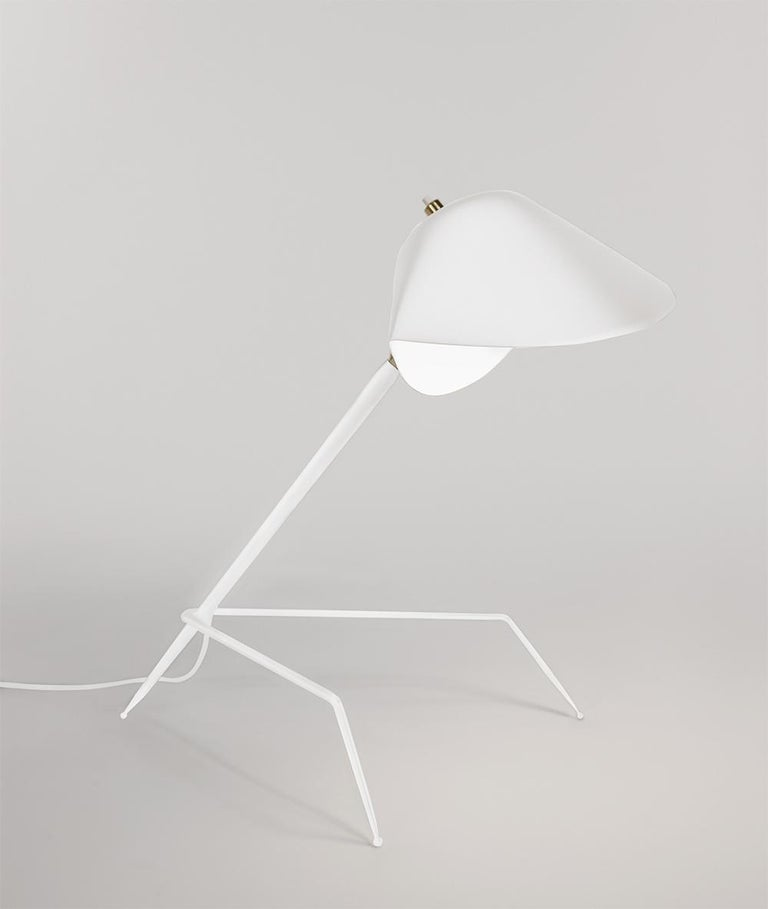 French Serge Mouille Mid-Century Modern White Tripod Lamp For Sale