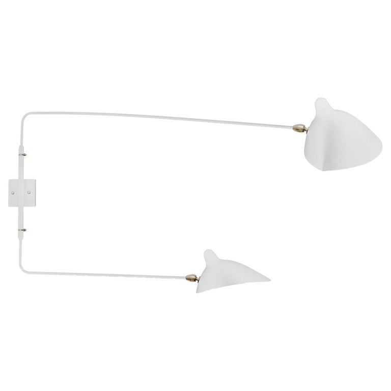 Serge Mouille Mid-Century Modern White Two Rotating Straight Arms Wall Lamp For Sale