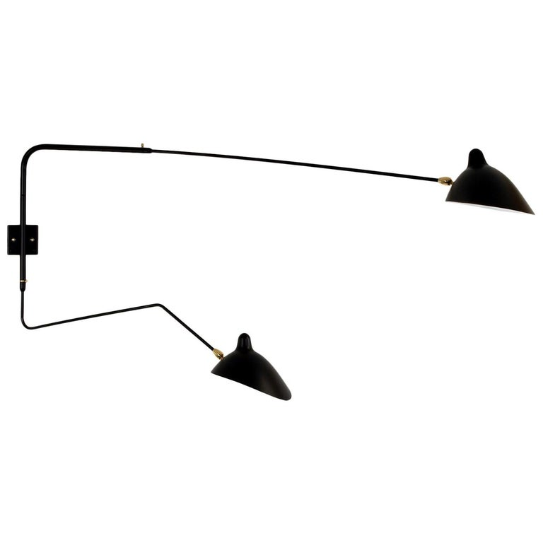 Serge Mouille rotating straight-curved arms wall lamp, new, offered by DADA