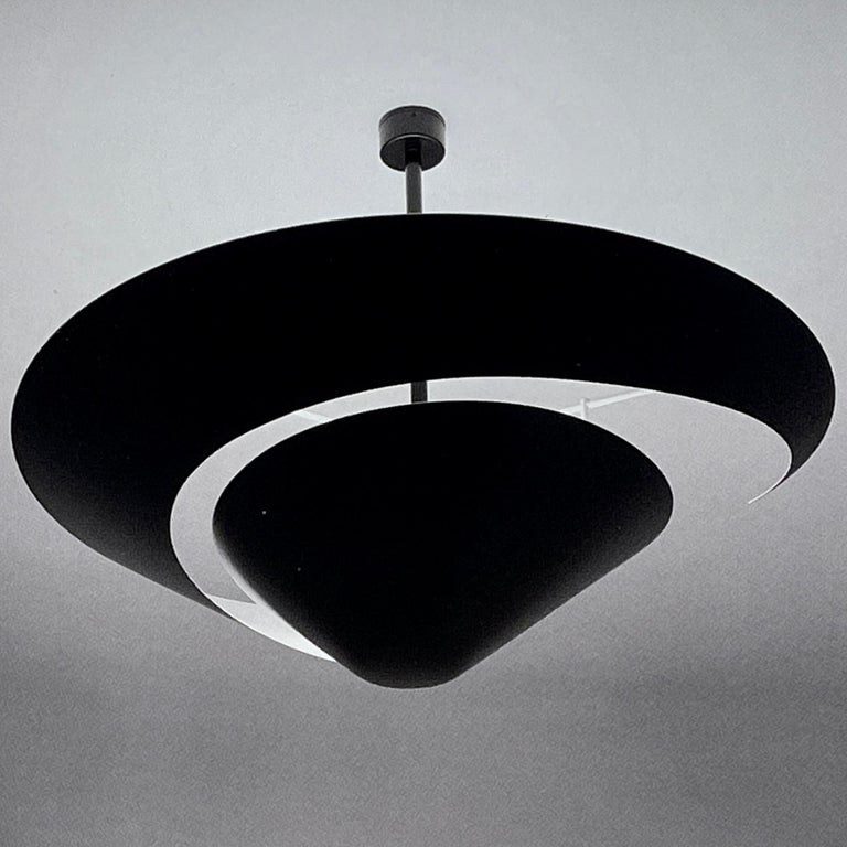 Painted Serge Mouille 'Snail' Ceiling Lamp For Sale
