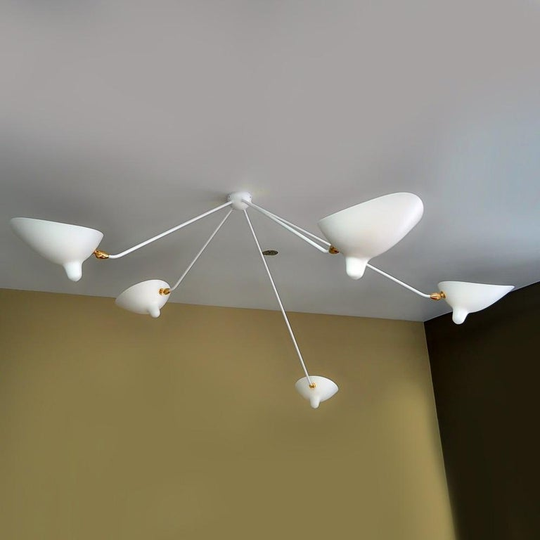 Mid-Century Modern Serge Mouille Spider Ceiling Lamp with Five Arms For Sale