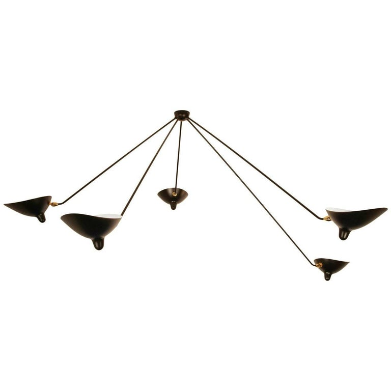 Serge Mouille Spider Ceiling Lamp with Five Arms For Sale