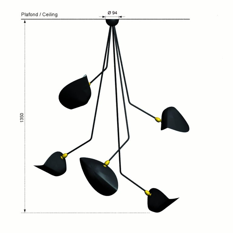 """Spider five broken arms ceiling lamp designed by Serge Mouille / collection Serge Mouille.  The certificate shown on the photo is just an example, each lamp has a personal serial number and a specific """"Certificate of Authenticity"""" when"""
