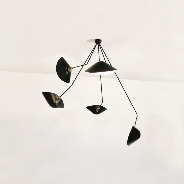 Spider five broken arms ceiling lamp designed by Serge Mouille or collection Serge Mouille.  Made by hand in Mouille's original workroom.  A