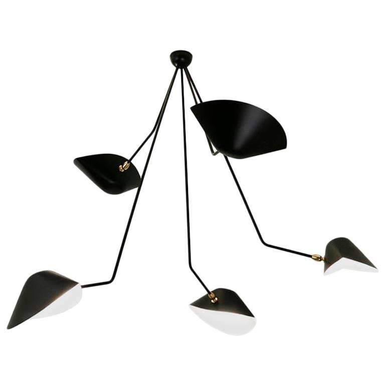 Mid-Century Modern Serge Mouille Spider Five Broken Arms Ceiling Lamp For Sale