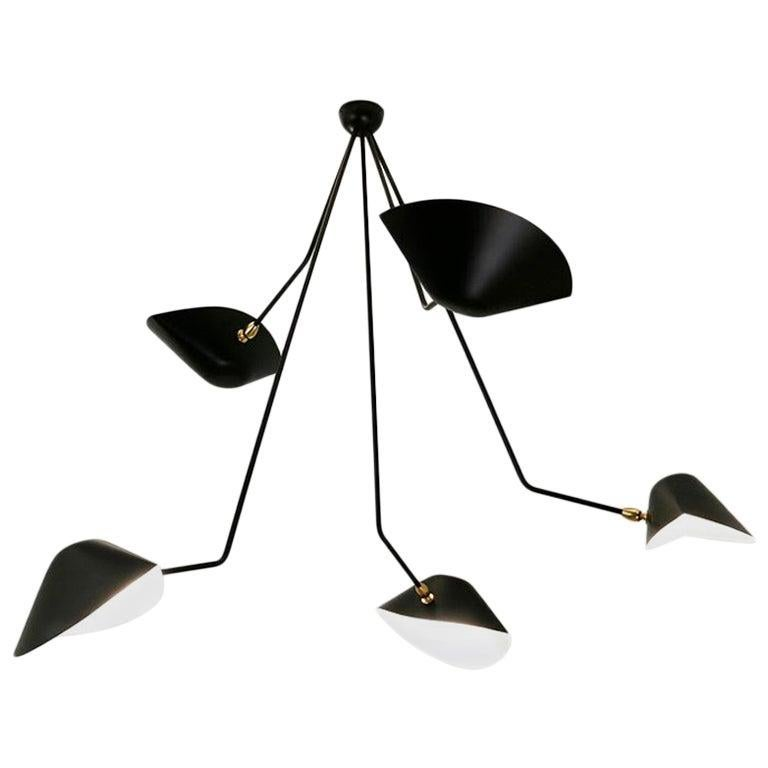 French Serge Mouille Spider Five Broken Arms Ceiling Lamp For Sale