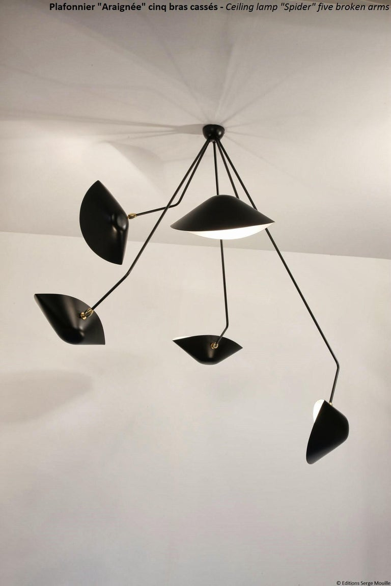 Serge Mouille Spider Five Broken Arms Ceiling Lamp In New Condition For Sale In Barcelona, Barcelona