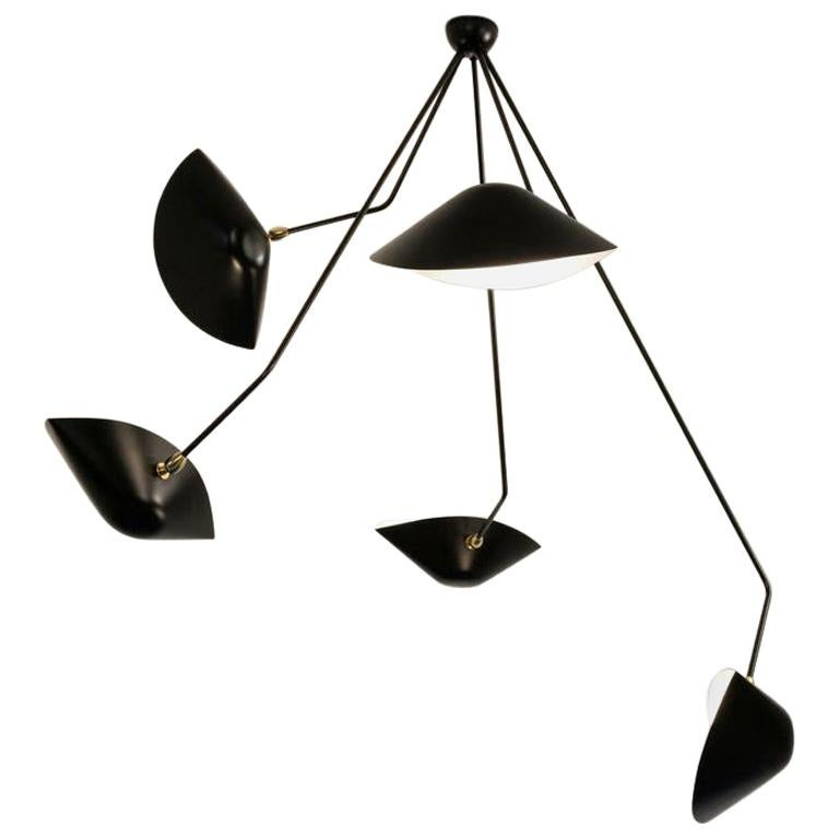 Serge Mouille Spider Five Broken Arms Ceiling Lamp For Sale