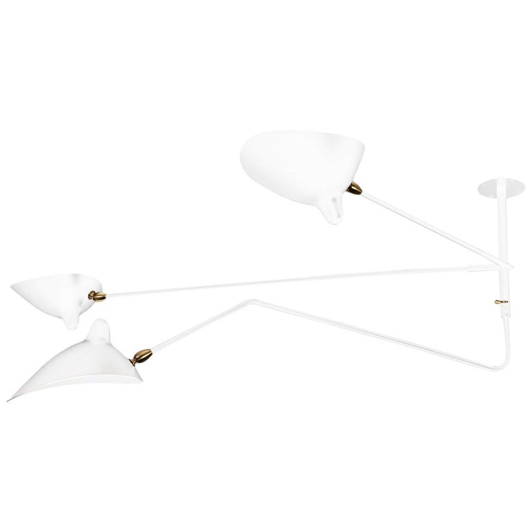 "White Serge Mouille Ceiling Lamp: Serge Mouille ""Suspension"" White Three Arms, One Rotating"