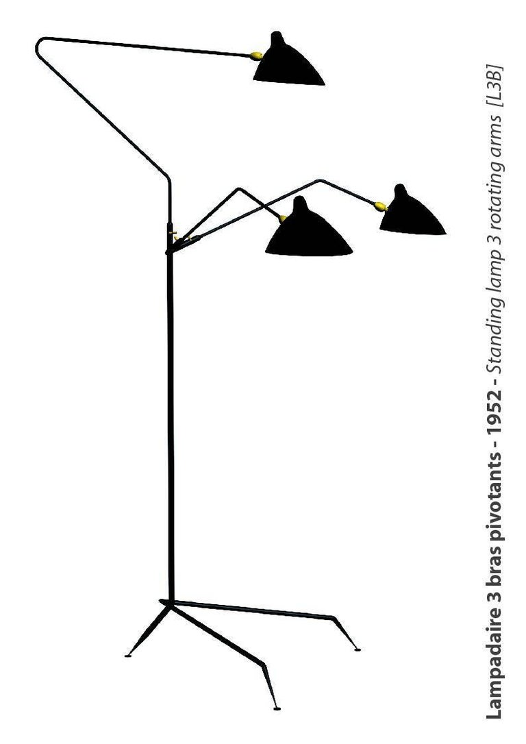French Serge Mouille 3 Arms Floor Lamp Standing Lamp For Sale
