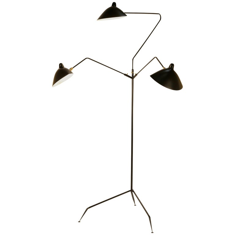 Serge Mouille 3 Arms Floor Lamp Standing Lamp For Sale