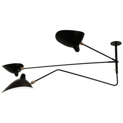 Serge Mouille Three Arms One Rotating Ceiling Sconce Black Lacquered Metal Lamp