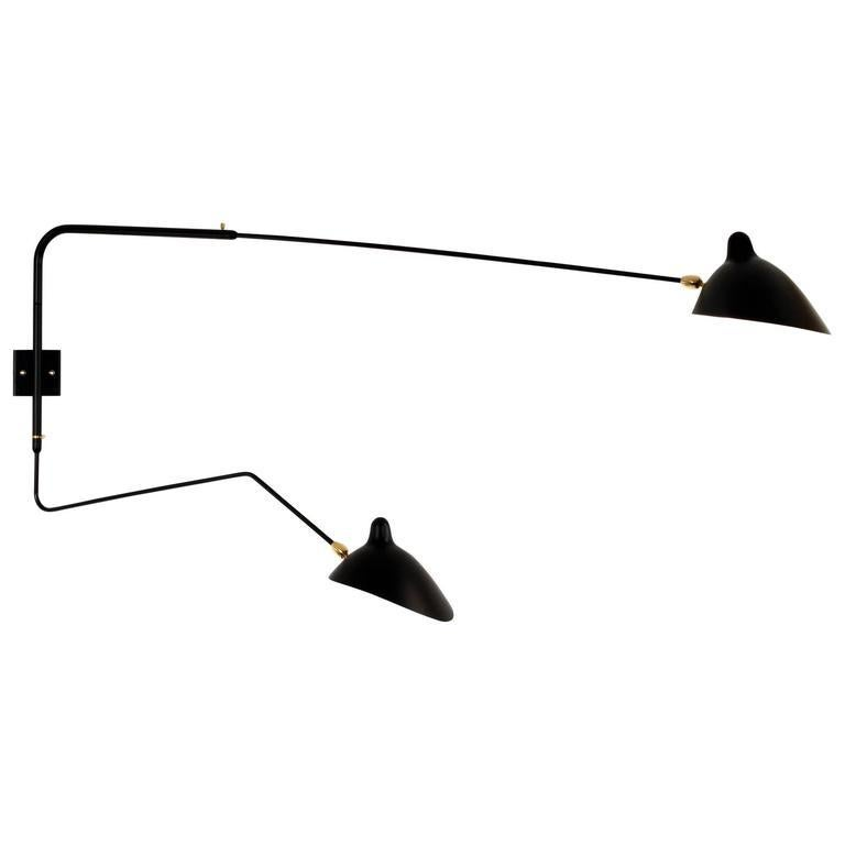 French Serge Mouille Two Rotating Straight-Curved Arms Sconce Lamp For Sale