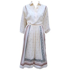 Serge Nancel French Silk Two Piece Dress With Goddess Motif