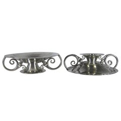 Serge Nekrassoff American Arts and Crafts Reversible Candle Holder / Tazza Pair