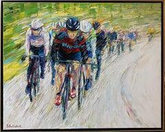 Tour de France, original 32x39 expressionist figurative landscape