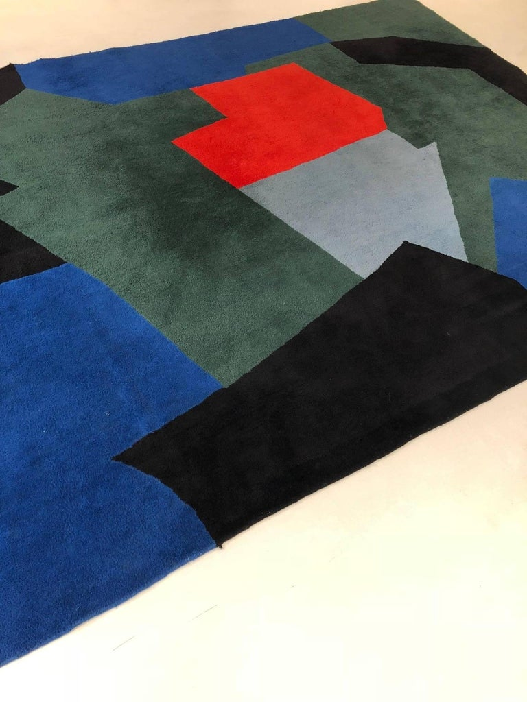 French Serge Poliakoff Carpet, Blue and Green Composition For Sale