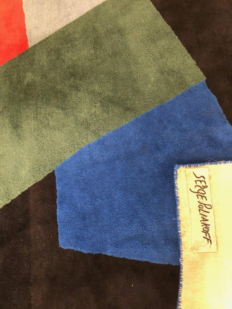 Hand-Woven Serge Poliakoff Carpet, Blue and Green Composition For Sale
