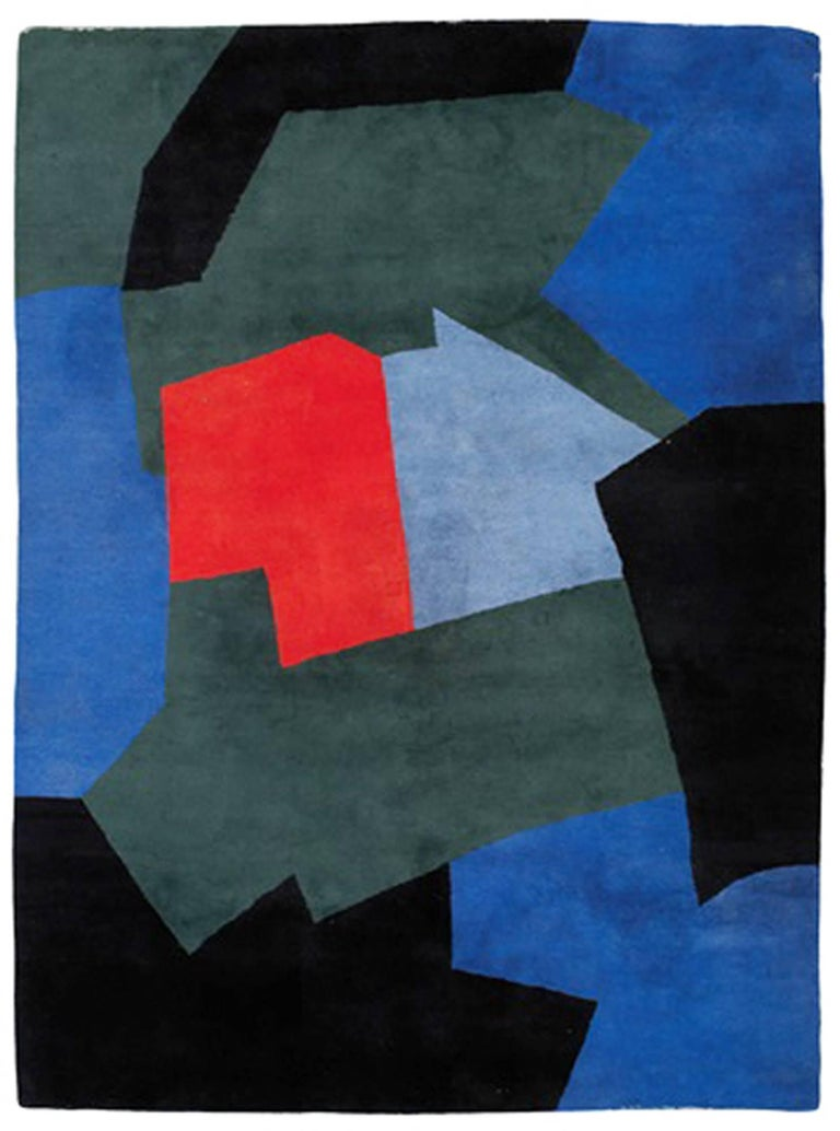 Serge Poliakoff (1900-1969)  Blue and green composition made by the Gallery art surface, circa 1980.   Size: 330 cm x 240 cm   Woven signature on the back of the carpet.  GALERIE HADJER, PARIS