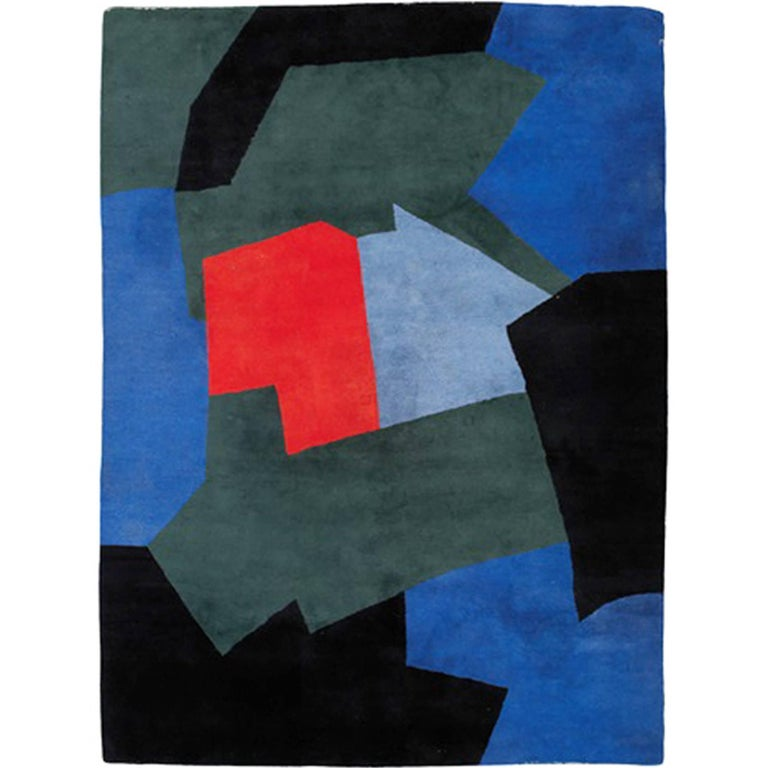 Serge Poliakoff Carpet, Blue and Green Composition For Sale