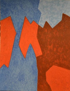 Blue And Red Composition   - Original Lithograph by Serge Poliakoff - 1968