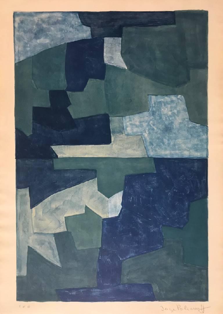 e4fae7ad685 Serge Poliakoff - Composition Bleue - Original Lithograph by Serge Poliakoff  - 1969