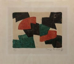Composition in green, beige, red and brown
