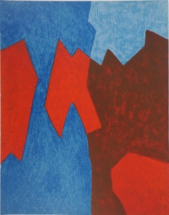 Composition in Red and Blue - Original lithograph (Rivière #68)