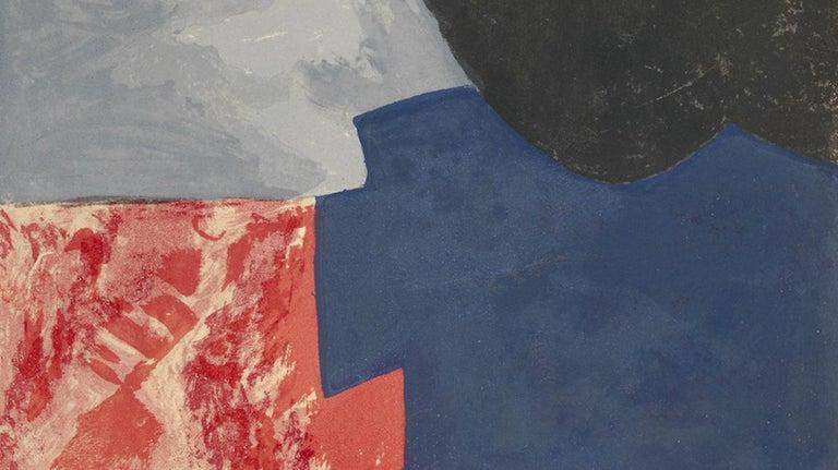 Komposition in Rot, Grau und Schwarz - Gray Abstract Print by Serge Poliakoff
