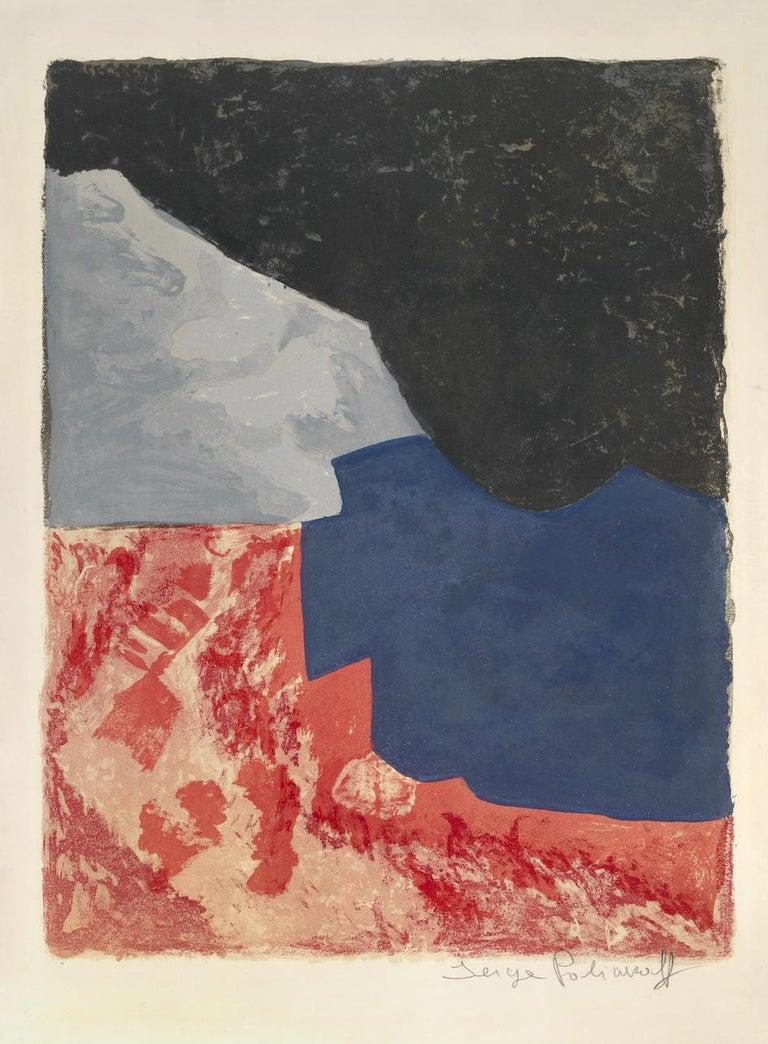 Serge Poliakoff Abstract Print - Komposition in Rot, Grau und Schwarz