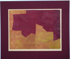 Orange And Bordeaux Composition  - Original Lithograph by Serge Poliakoff - 1963