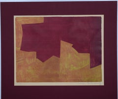 Orange And Bordeaux Composition  - Original Lithograph by Serge Poliakoff