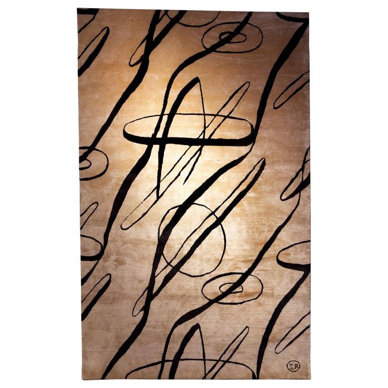 Serge Poliakoff Silk Rug Sabine de Gunzburg For Sale