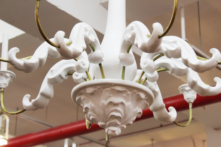 Serge Roche Style Baroque Revival Plaster Chandelier For Sale 7