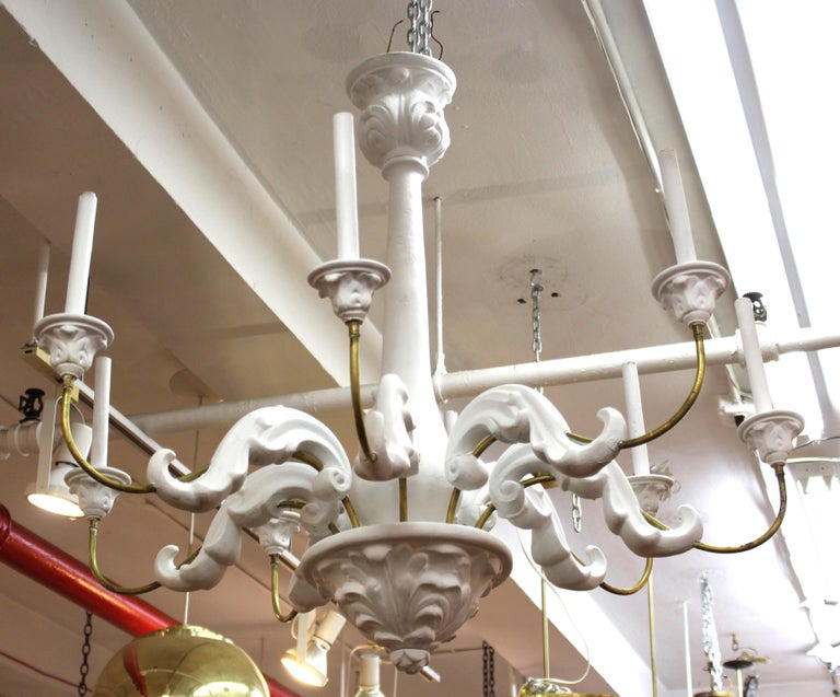 Serge Roche Style Baroque Revival Plaster Chandelier In Good Condition For Sale In New York, NY