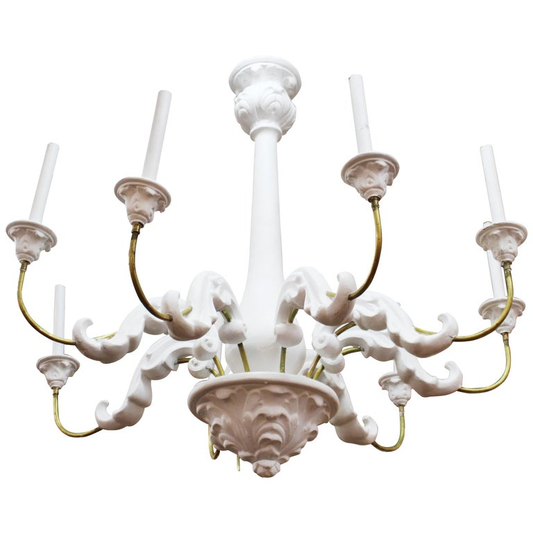 Serge Roche Style Baroque Revival Plaster Chandelier For Sale