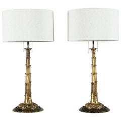 Serge Roché-Style Bronze Doré Table Lamps, a Pair
