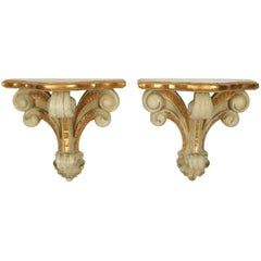Serge Roche Style Carved Wall Brackets