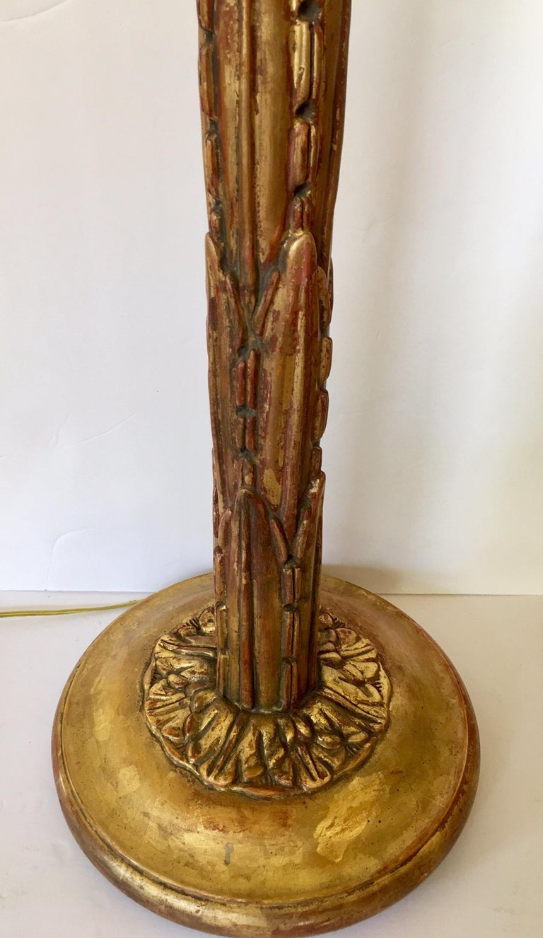 Hollywood Regency Serge Roche Style Gesso Giltwood Carved Palm Tree Floor Lamp For Sale