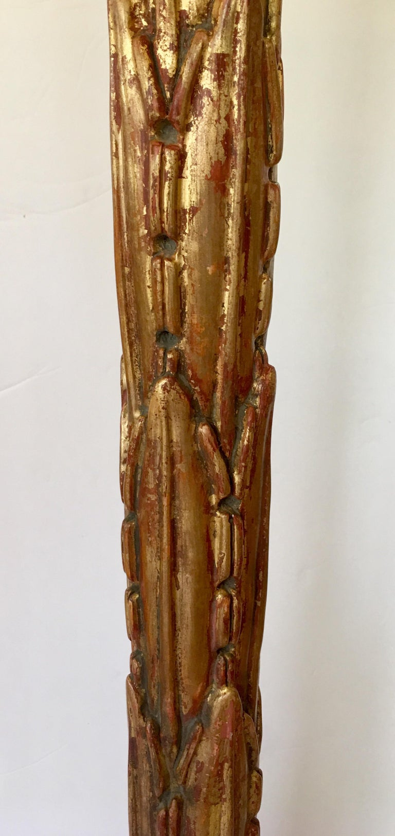 Serge Roche Style Gesso Giltwood Carved Palm Tree Floor Lamp In Good Condition For Sale In Lambertville, NJ