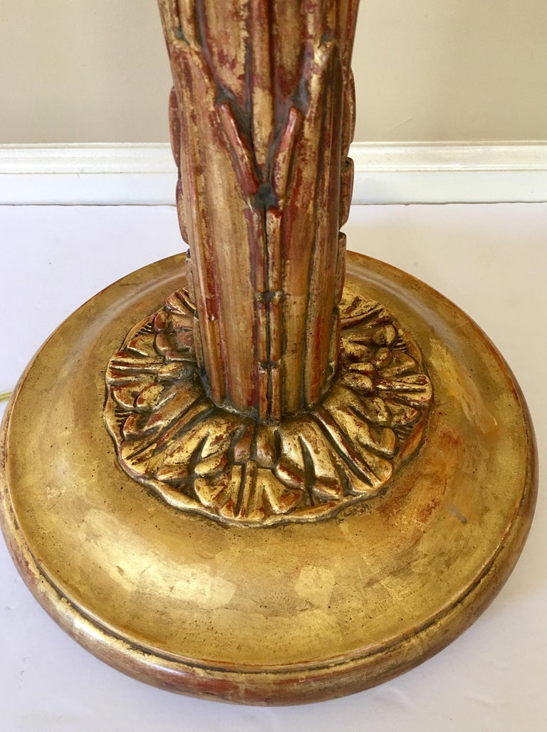 Serge Roche Style Gesso Giltwood Carved Palm Tree Floor Lamp For Sale 2