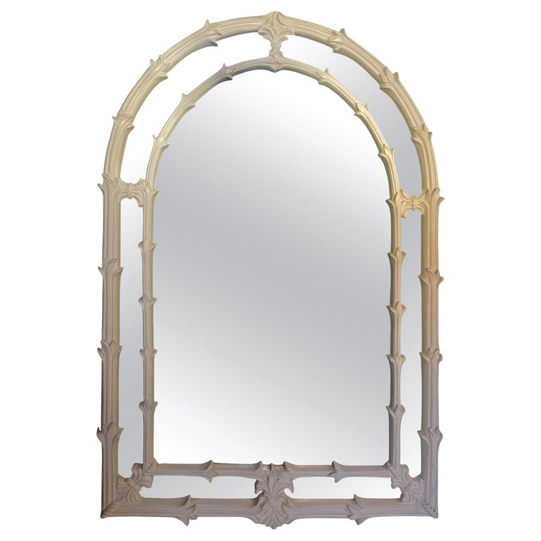 Serge Roche Style Hollywood Palm Regency Plaster Foliate Carved Wall Mirror For Sale