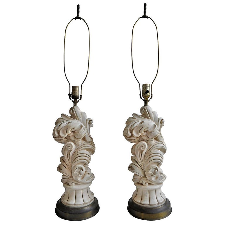 Serge Roche Style Hollywood Regency Chapman Plaster Sculptural Lamps, 1950s For Sale