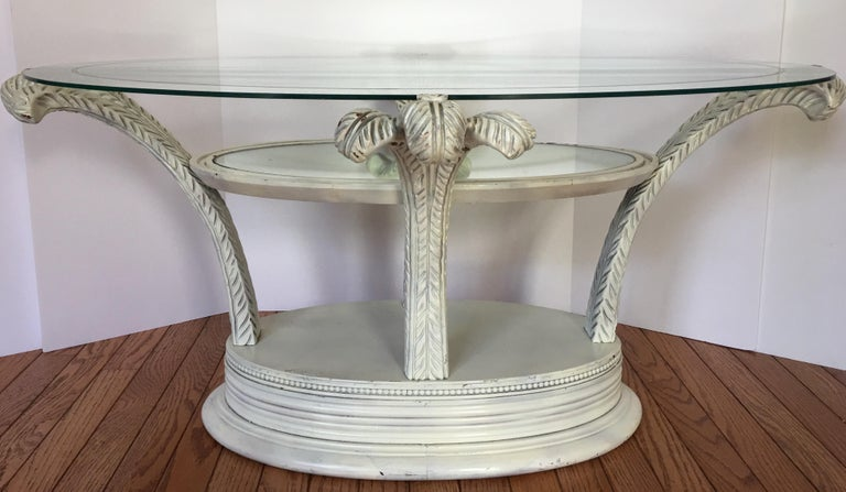 Serge Roche Style Hollywood Regency Plume Coffee Table In Good Condition For Sale In Lambertville, NJ