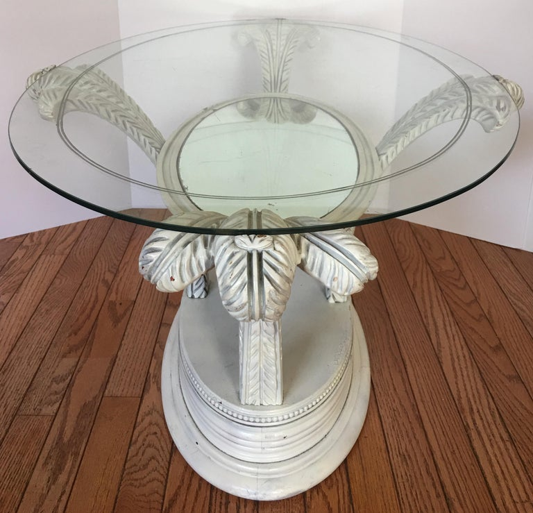 Glass Serge Roche Style Hollywood Regency Plume Coffee Table For Sale