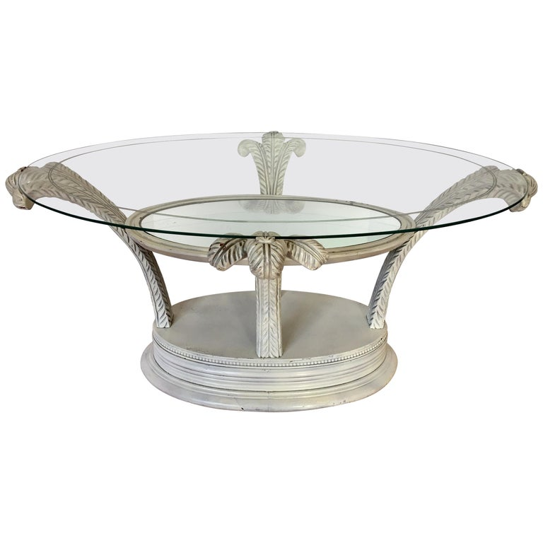 Serge Roche Style Hollywood Regency Plume Coffee Table For Sale