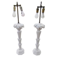 Serge Roche Style Palm Tree Table Lamps a Pair