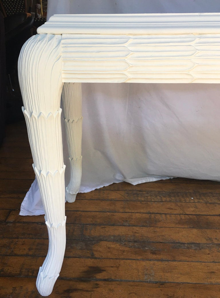 Serge Roche Style Plaster White Palm Carved Console Table For Sale 5