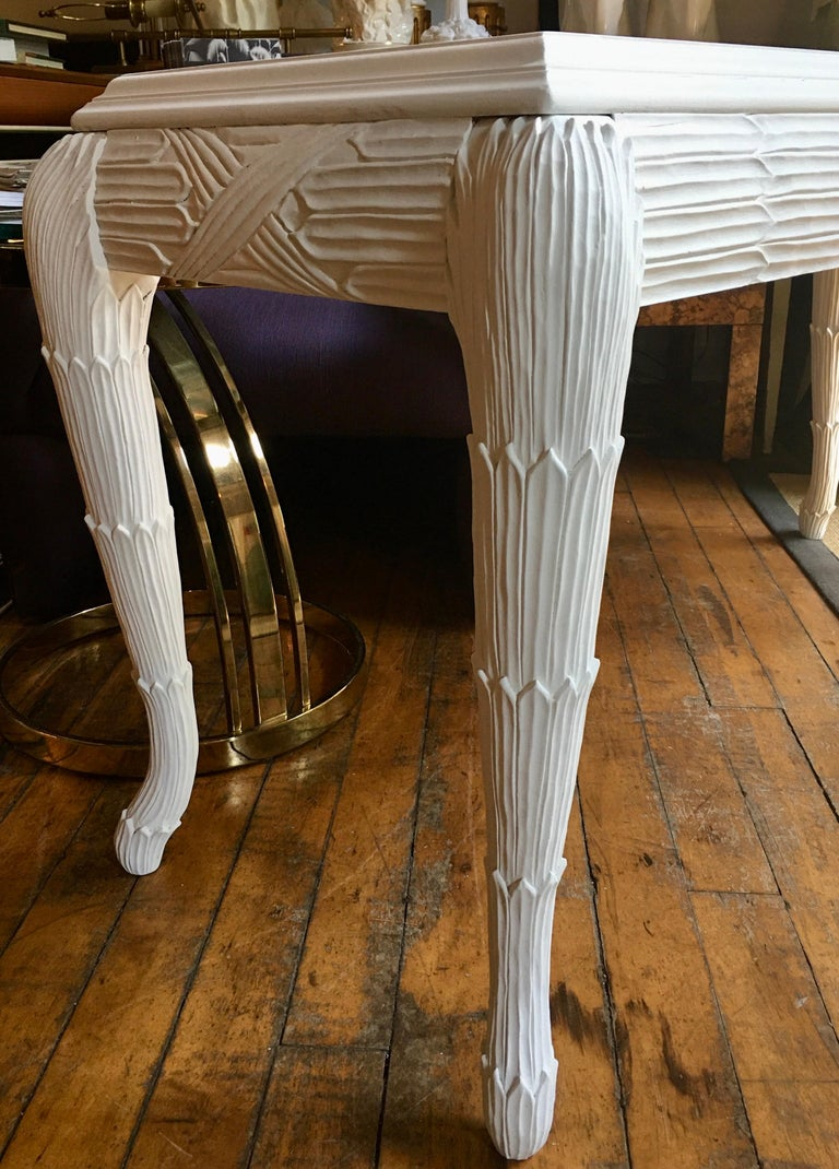 Serge Roche Style Plaster White Palm Carved Console Table For Sale 7